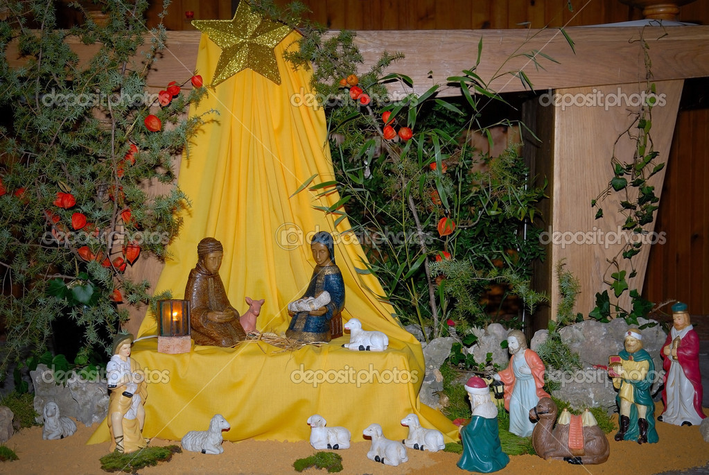 Night shot of a nativity scene   Stock Photo #13340035