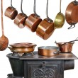 Pans and stove three — Stock Photo