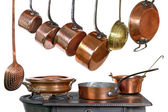 Pans and stove — Stock Photo