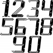 Stylish pcb electric wires numbers in italics — Vector de stock #41763549