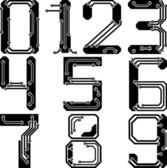 Stylish pcb electric wires numbers — Stock vektor