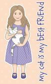 Little girl with a cat — Stock Vector