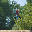 Jump with a bike rider — Stock Photo