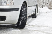 Road snow winter car — Stock Photo