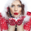 Beautiful young woman in Santa Claus clothes isolated — Foto Stock