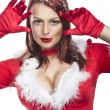 Beautiful sexy girl wearing santa claus clothes — ストック写真