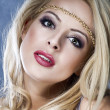 Beautiful Sexy Blond Girl. Long Hair. Holiday Makeup.Make-up. Gl — Stock Photo #19019689