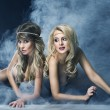Two women like siren — Stok fotoğraf