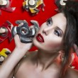 Stock Photo: Sexy women with red lips