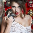 Sexy women with red lips — Stock Photo