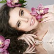 Beauty Girl With Flowers. Beautiful Model Woman Face. — Stock Photo