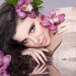 Beauty Girl With Flowers .Beautiful Model Woman Face — Stock Photo