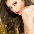 Magic Girl Portrait in Gold. Golden Makeup - Foto de Stock