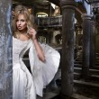 Stock Photo: Sensual blonde womin white dress