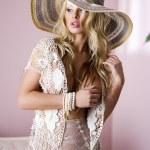 Photo of sexy beautiful blonde woman wearing elegant lingerie, — Stock Photo #27807639