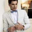 Sexy young man in suit — Stock Photo