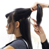 Woman in hairdressing salon do hair style. — Stock Photo
