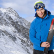 Beauty smiling man in winter in mountains — Stock Photo #37692245