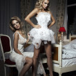 Two girlfriends having fun of trying On A Wedding Dress — Stock Photo #38104883