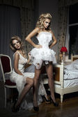 Two girlfriends having fun of trying On A Wedding Dress — Стоковое фото