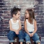 Two happy kids in studio — Stock Photo