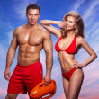 Sexy smile rescuers Of Water — Stock Photo