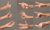 Human Hand collection, different hands, gestures, signals and signs — Foto Stock