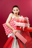 Asian Woman Holding a Gift Package — Stock Photo