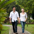 Asian couple holding hands walking on the park path — Stock Photo #20974885