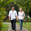 Asicouple holding hands walking on park path — Stock Photo #20974885