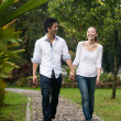Asian couple holding hands walking on the park path — Stock Photo #20974897