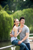 Asian couple sitting on embankment in the park — Stock Photo