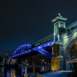 Stock Photo: Pedestrian bridge in Moscow, with beautiful lighting at night