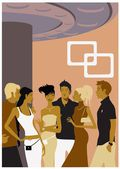Illustration of Friends gathering — Stock Vector