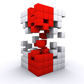 3D rendered 3d cube assembling from blocks — Stock Photo