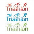 Vector triathlon symbol set - Stock Vector
