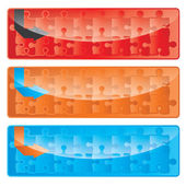Vector Modern Puzzle banner set — Stock Vector
