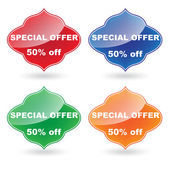 Vector color Special Offer label set — Stock Vector