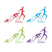 Vector triathlon symbol set — Stock Vector