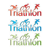 Vector triathlon symbol set — Stock Vector