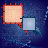 Vector Puzzle blue Speech bubbles — Stock Vector