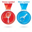 Vector Man and woman / Mars and Venus symbols on medals - Stock Vector