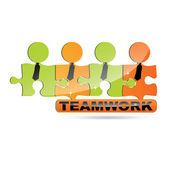 Vector modern puzzle Teamwork symbol — Stock Vector