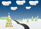 Vector winter/christmas mountain landscape. — Stock Vector
