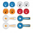 Vector round Login - Logout button set  — Stock Vector