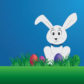 Vector Easter background-brochure design with easter bunny and eggs — Stock vektor