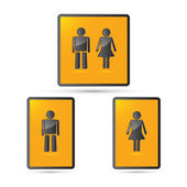 Vector man and woman symbols - restroom signs — Stock Vector