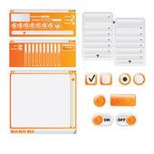 Vector orange media player design - user interface elements — Stock Vector