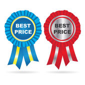 Vector Color Best Price label with ribbons — Vector de stock