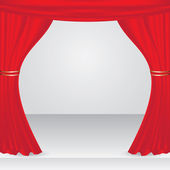 Vector stage with red show curtain — Wektor stockowy